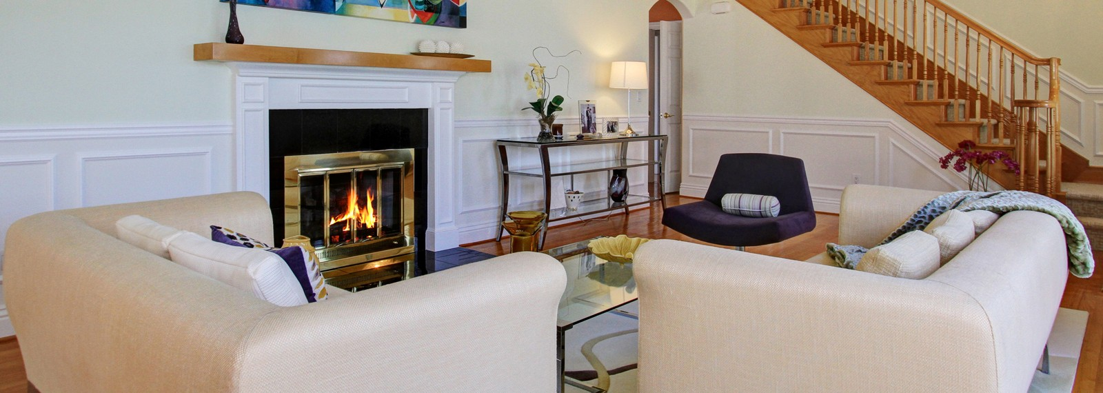 Living Room with Fireplace - Nina Kirkendall